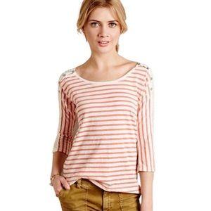 Anthropologie White & orange Striped Sheer Top